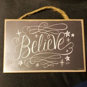"""Believe"" Chalkboard Art Wooden Plaque Wall Sign"